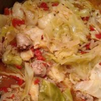 A close up of Instant Pot Cabbage and Sausage