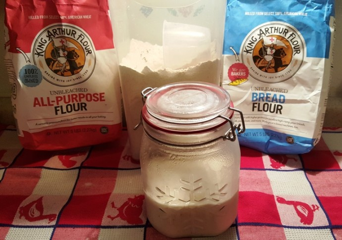 Cast of Ingredients for Country Sourdough Bread - Old World Style