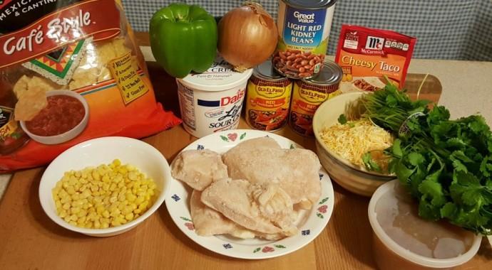 Cast of Ingredients for Pressure Cooker Chicken Enchiladas
