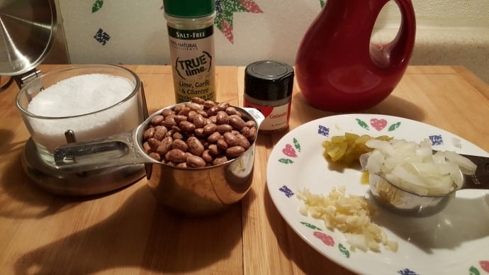 Cast of Ingredients for Pressure Cooker Frijoles Refried Pinto Beans