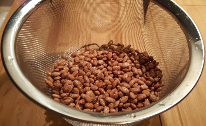 Rinsing the beans