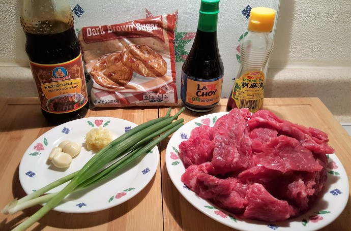 Cast of Ingredients for Pressure Cooker Mongolian Beef