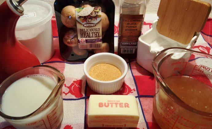 Cast of Ingredients for Pressure Cooker Pork Chops in Homemade Mushroom Gravy