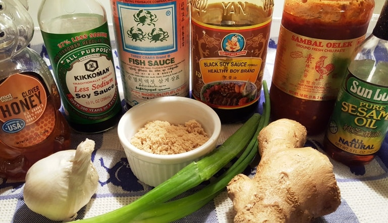 Ingredients on a table for Asian Ginger Sticky Chicken Wings: fish sauce, soy sauce, black soy sauce, ginger, garlic, honey, sesame oil, and scallions.