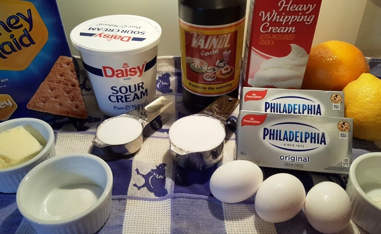 Cast of Ingredients for Pressure Cooker New York Cheesecake
