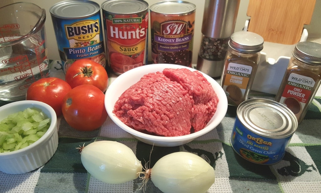 Cast of Ingredients for Pressure Cooker Copycat Wendy's Chili Recipe