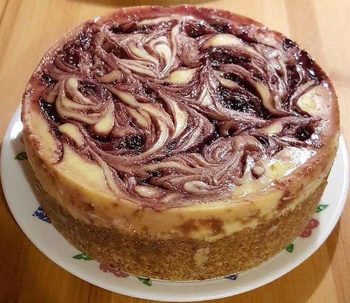 Pressure Cooker Blackberry Cheesecake