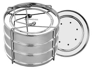 Oikeioz 3-Tier Stackable Stainless Steel Pressure Cooker Steamer Insert Pans