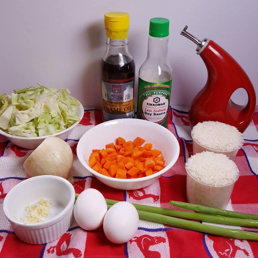 Cast of Ingredients for Instant Pot Pressure Cooker Fried Rice