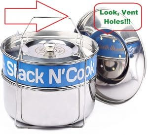 Stack N' Cook Stainless Steel Pressure Cooker Pans (w/VENT HOLES IN LID !!!)