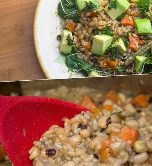 Pressure Cooker Black Eyed Peas Sprouted Brown Rice