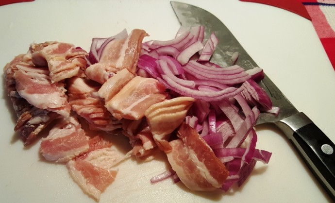 Rough Chop the Bacon and Onions