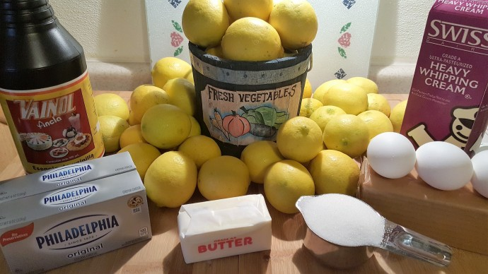 Cast of Ingredients for Pressure Cooker Meyer Lemon Cheesecake