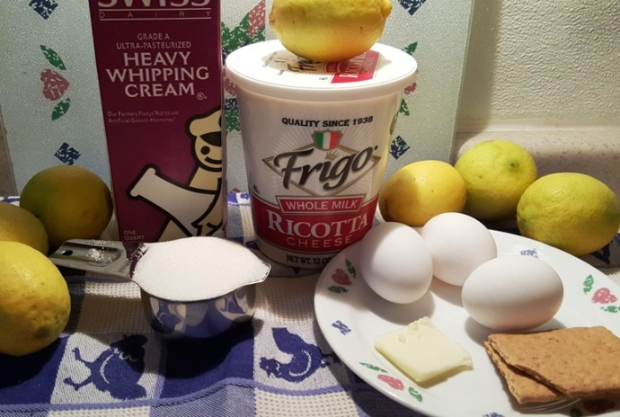 Cast of Ingredients for Pressure Cooker Italian Meyer Lemon Ricotta Cheesecake
