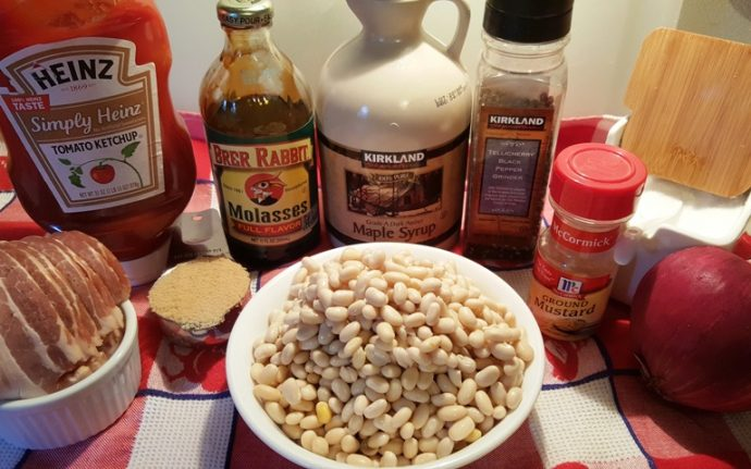 Cast of Ingredients for Pressure Cooker Holiday Baked Beans
