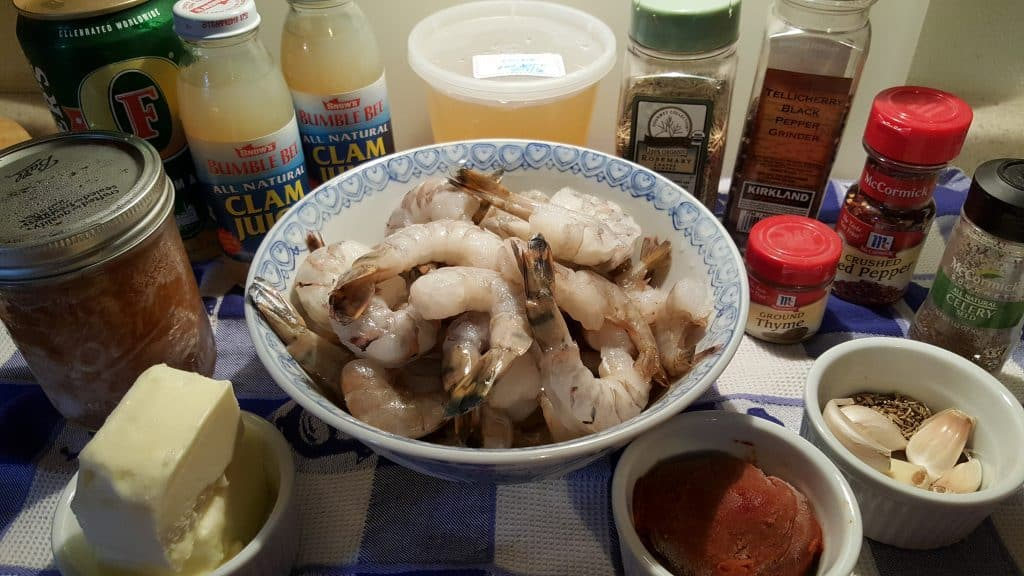 Cast of Ingredients for Pressure Cooker Copycat Killer Shrimp Recipe