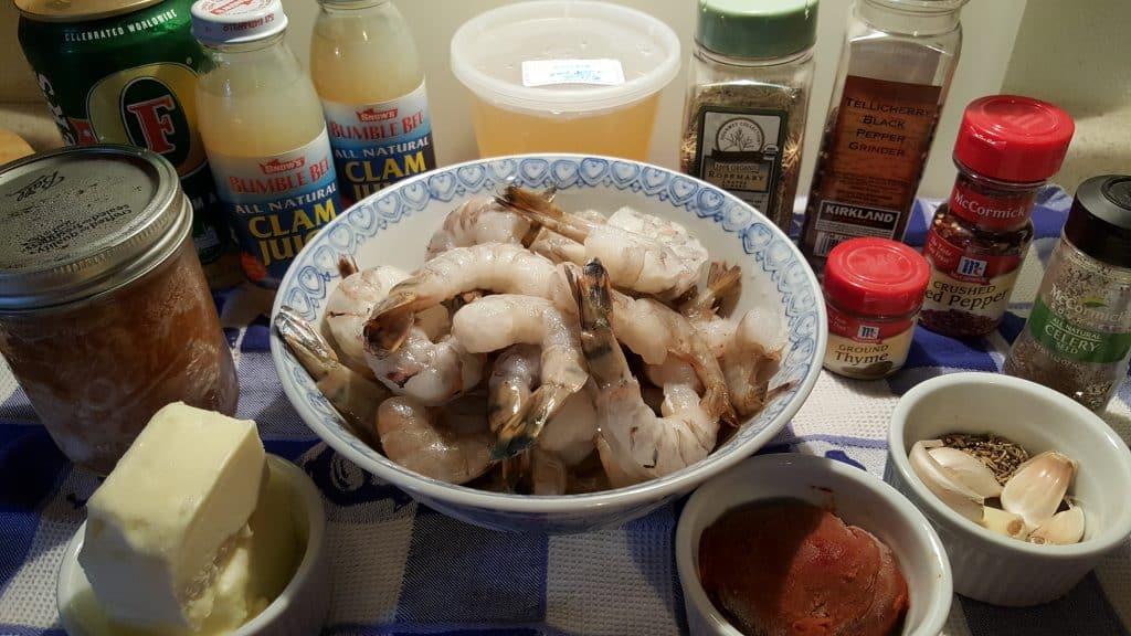 Cast of Ingredients for Instant Pot Killer Shrimp