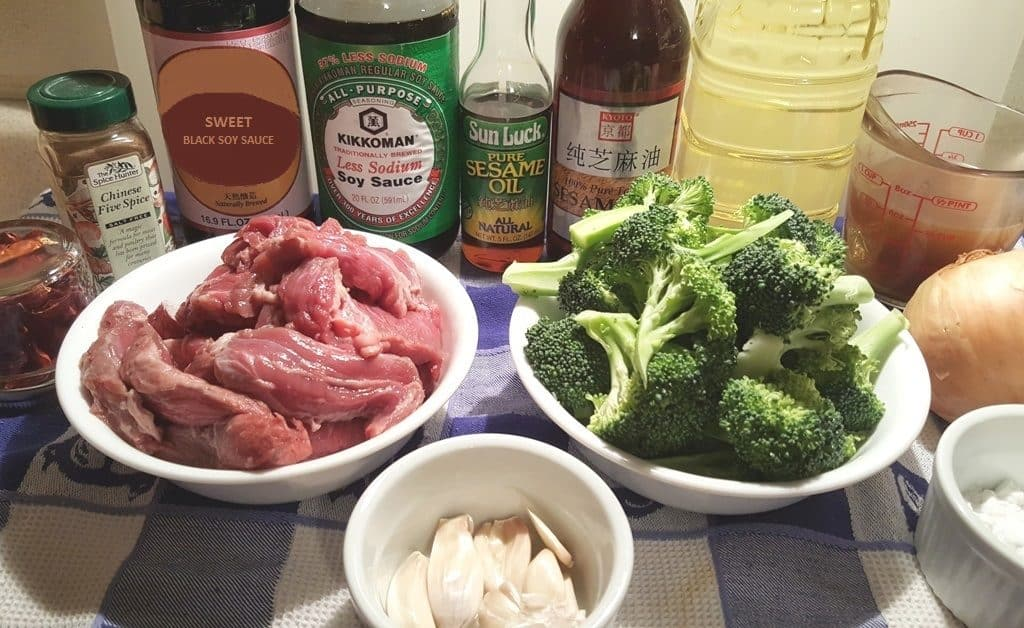 Cast of Ingredients for Pressure Cooker Chinese Take-Out Beef and Broccoli