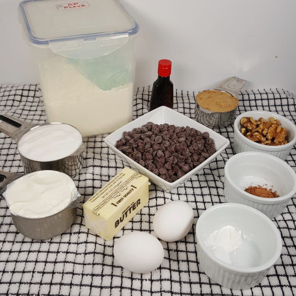 Cast of Ingredients for Chocolate Chip Coffee Cake
