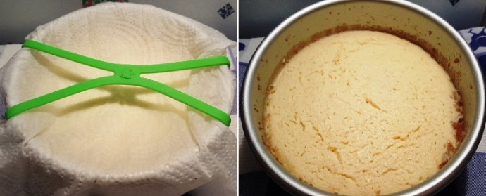Left image of Grafiti Bands Cross Style over paper towel over a cake pan. Right image of a cake pan with cheesecake in it.