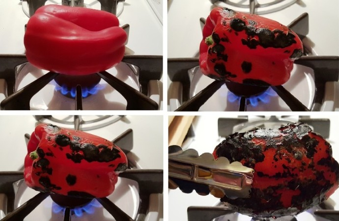 Roast Red Peppers Over Open Flame