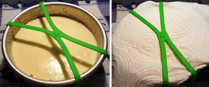 Green Grafiti Bands Cross Style band on a cake pan with cheesecake batter inside. Other image of a paper towel being placed underneath the Grafiti Bands.