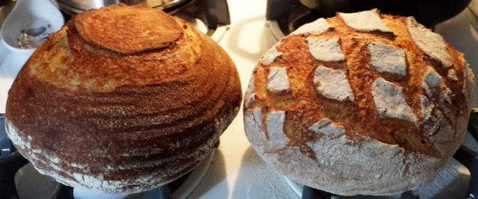 Two loaves of Country Sourdough Bread on top of a counter.