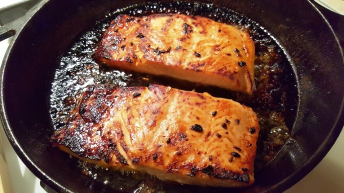 Mouthwatering {and Healthy!!} Valentine's Dinner Recipes | Kara's Party Ideas | Seared Cast Iron Brown Butter Honey Garlic Salmon