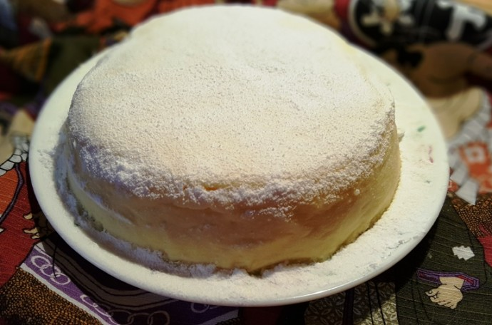 Pressure Cooker Three Ingredient Japanese Cotton Cheesecake with Powdered Sugar
