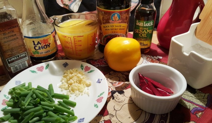 Cast of Ingredients for Pressure Cooker Chinese Take-Out Spicy Orange Beef