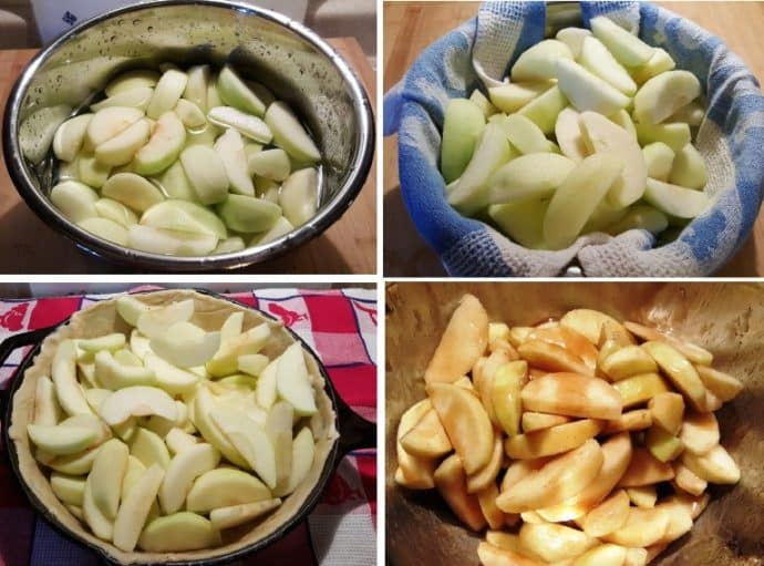 Soak Apples and Dry Well before pouring on Caramel Sauce