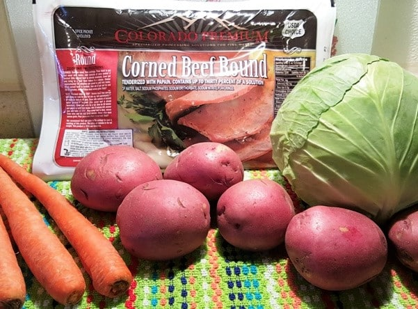 Cast of Ingredients for Pressure Cooker New England Boiled Dinner