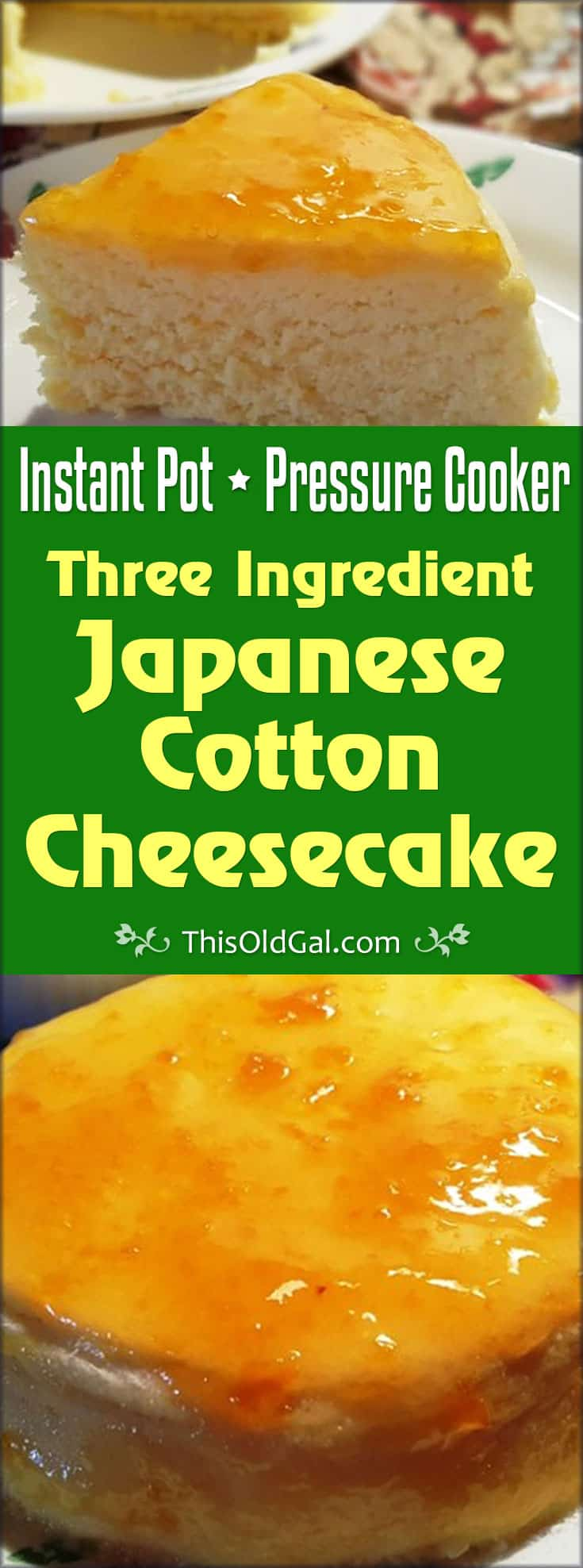 Pressure Cooker Three Ingredient Japanese Cotton Cheesecake