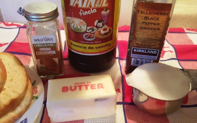 Cast of Ingredients for Air Fryer Perfect Cinnamon Toast