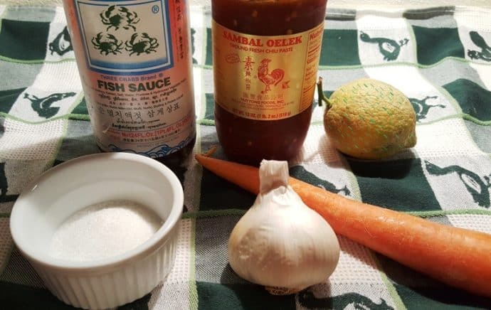 Cast of Ingredients for Nuoc Cham (Vietnamese Dipping Fish Sauce)