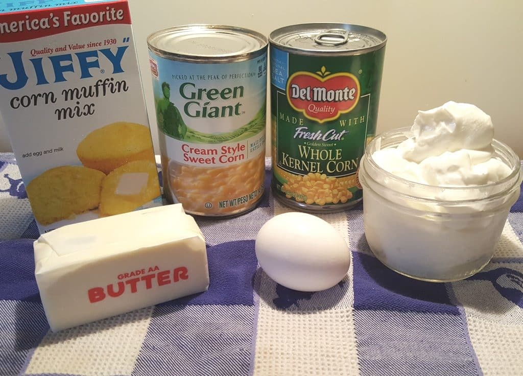 Cast of Ingredients for Holiday Creamy Corny Cornbread