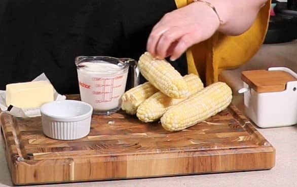 Cast of Ingredients for Instant Pot Corn on the Cob