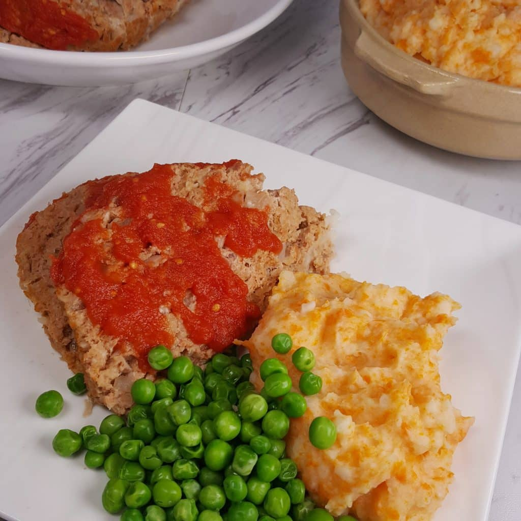 Turkey Meatloaf with Carrot Potato Mash