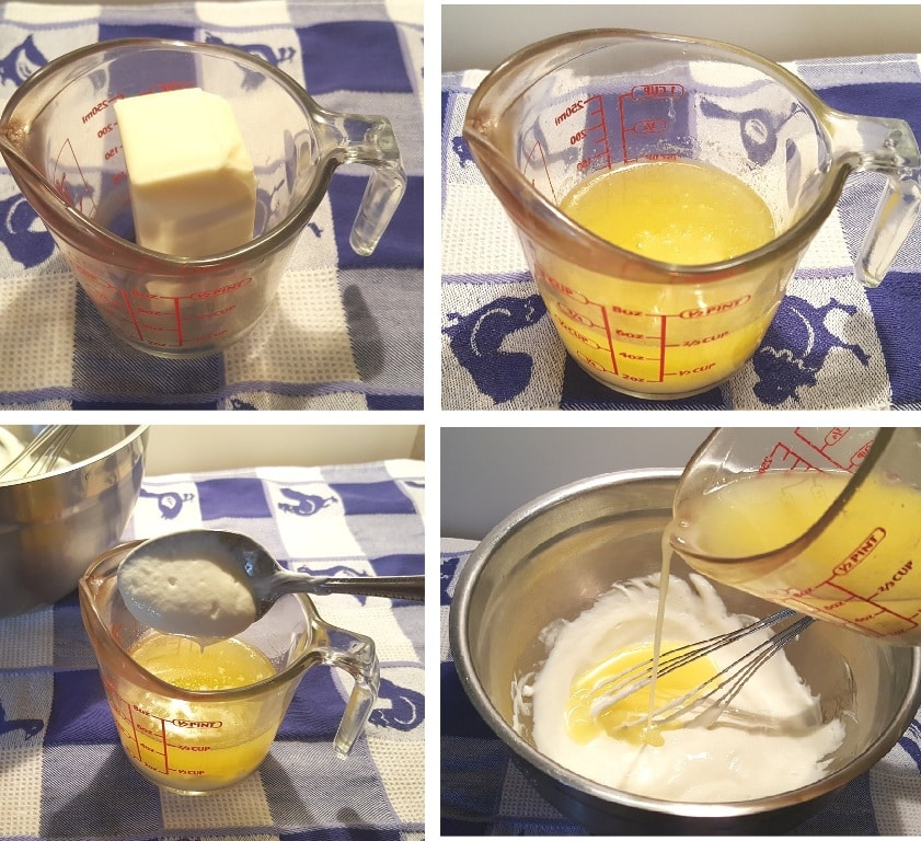 Melt the butter and tamper the egg mixture