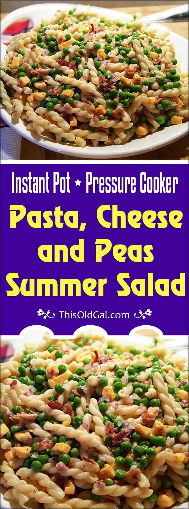 Pressure Cooker Pasta, Cheese and Peas Summer Salad