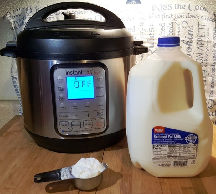 Cast of Ingredients for Instant Pot Greek Yogurt
