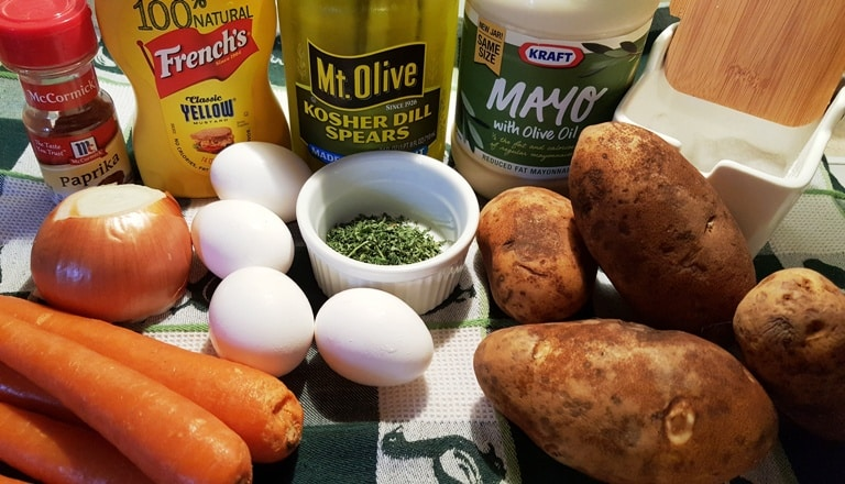 Image of the ingredients for Instant Pot Potato Salad