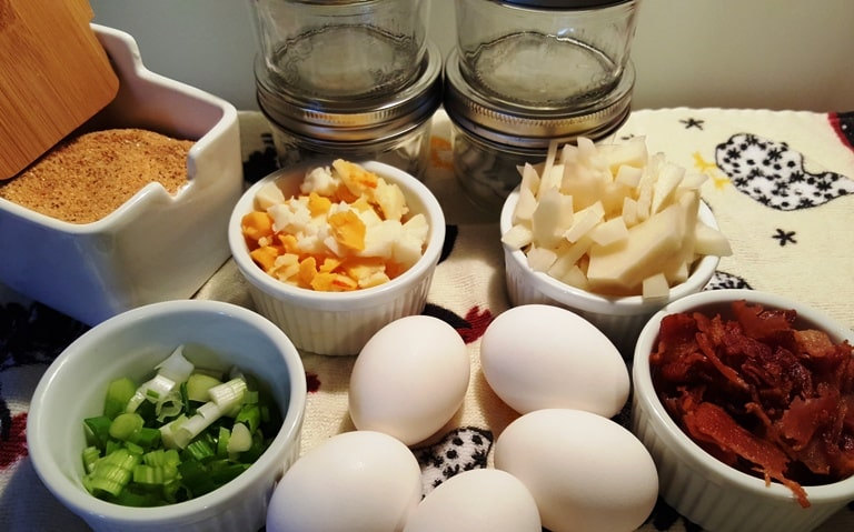 Cast of Ingredients for Pressure Cooker Frosted Egg Cupcakes Frittata