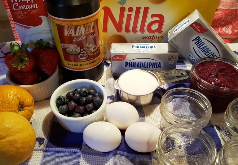 Cast of Ingredients for Pressure Cooker Red White and Blue Cheesecake Singles