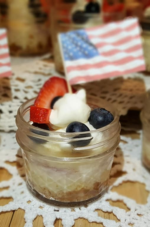Pressure Cooker Red White Blue Cheesecake Singles