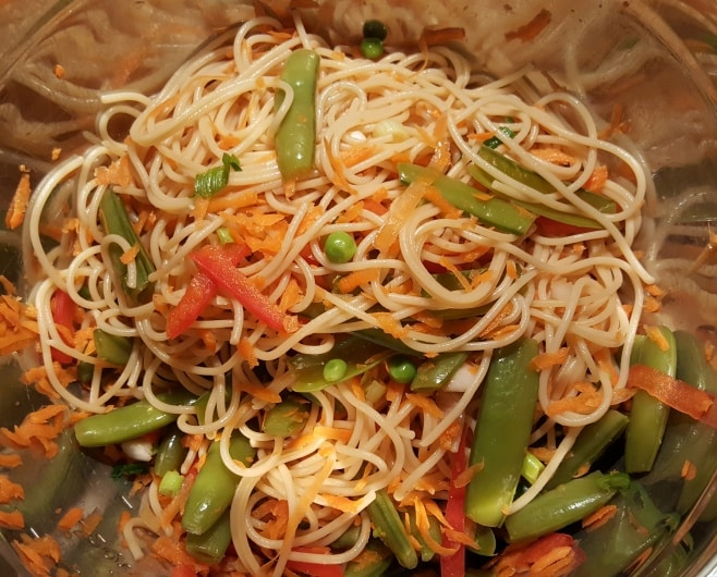 Asian Crunchy Salad in a Mixing Bowl