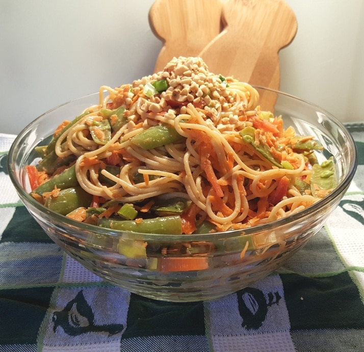 Asian Crunchy Noodle Salad With Peanut Butter Dressing