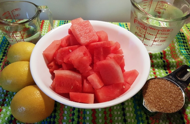 Ingredients - watermelon, lemons, raw sugar