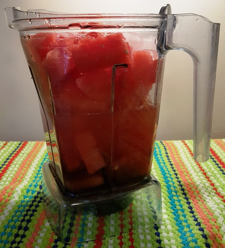 Watermelon Chunks in Vitamix