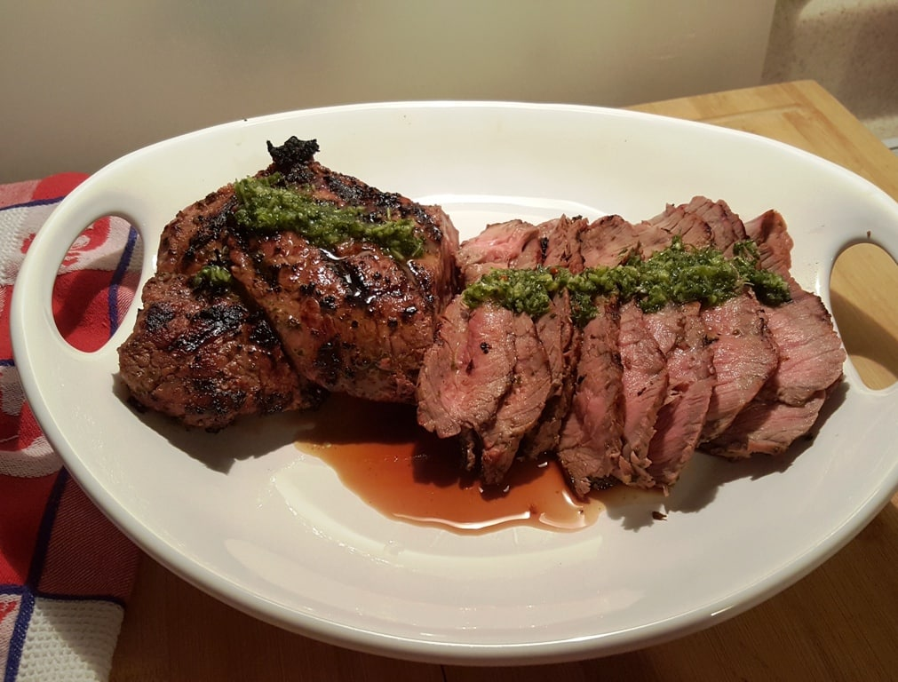Rare London Broil with Chimichurri Sauce